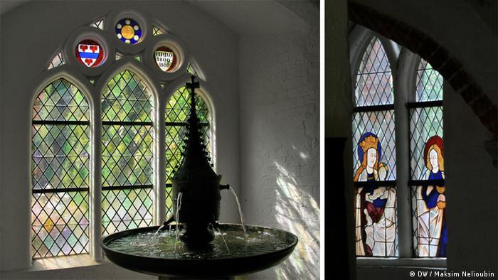 Фонтан и мозаичные окна