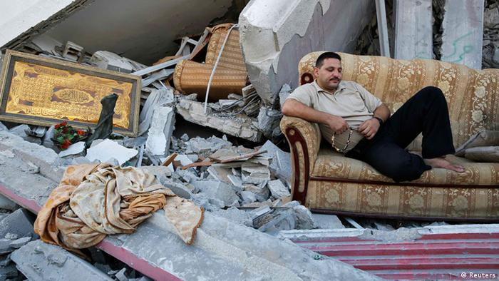 A house in Gaza destroyed by bombing