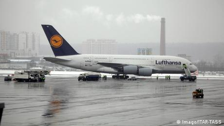 Lufthansa's Airbus A380 seen after landing at Moscow's Vnukovo Airport