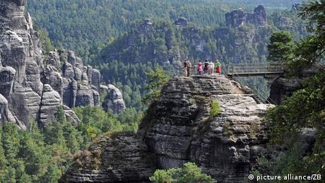 Sandsteinfelsen im Nationalpark Sächsische Schweiz Foto: Matthias Hiekel dpa/lsn