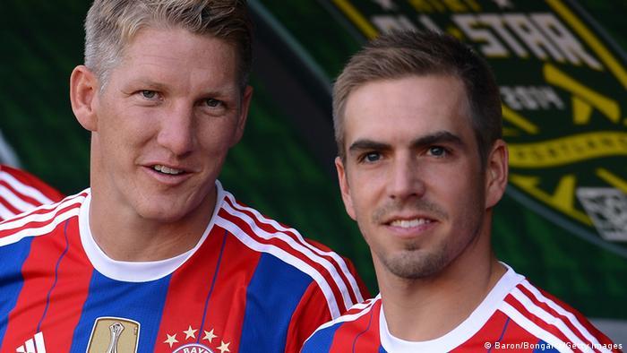 Bastian Schweinsteiger und Philipp Lahm vor dem MLS All-Star Spiel (Baron/Bongarts/Getty Images)