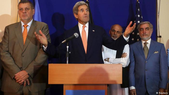 Afghanistan Regierungsbildung PK Kerry & Ghani & Abdullah 08.08.2014