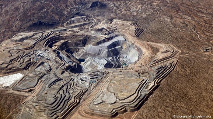 Vista aérea de una mina en el norte de México.