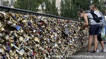 Love locks on Paris' Pont des Arts Bridge.