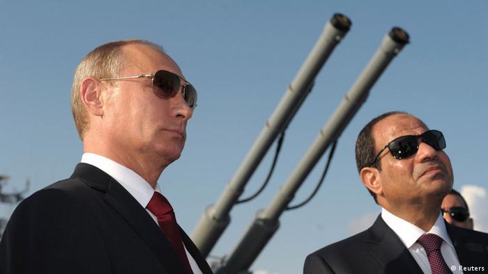 Владимир Путин и президент Египта Абдель-Фаттах ас-Сиси в Сочи, 2014 г.