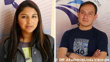 Esther Paola Mamani und Sady Daniel Rojas Loza sind Auszubildende, die bei der ersten Journalistenausbildung in Bolivien teilnehmen. Die Ausbildung ist ein Gemeinschaftsprojekt der DW Akademie, der bolivianischen Journalismus-Stiftung und der GIZ.