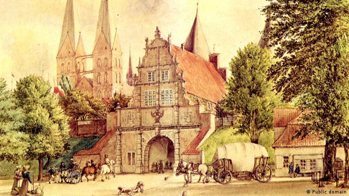 Внешние Голштинские ворота на рисунке Карла Юлиуса Мильде