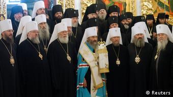 Глава УПЦ МП митрополит Онуфрий (на фото в центре) после избрания и высшие церковные иерархи, август 2014 года