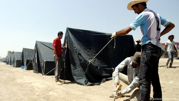 Aufbau eines Flüchtingslagers für Christen (Foto: Ahmed Jalil/EPA)