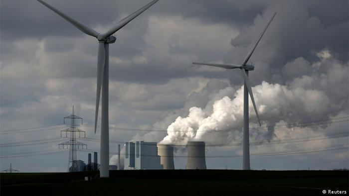 Wind and coal power juxtaposed