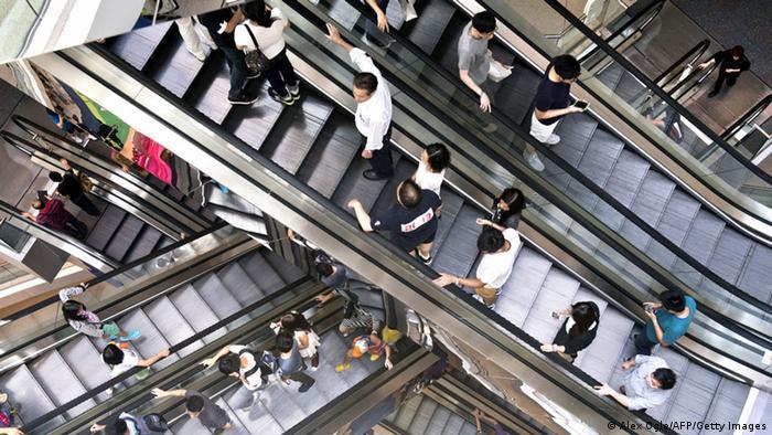 Escalators in a shopping center in Hong Kong