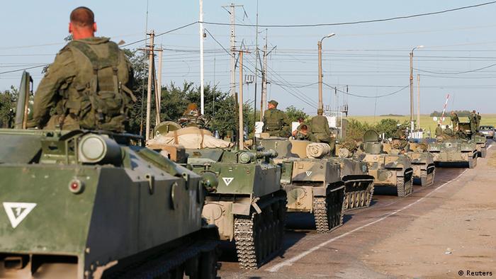 Российская бронетехника вблизи украинской границы, 15 августа 2014 года