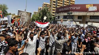 Iraq Bagdad Maliki followers at demonstration