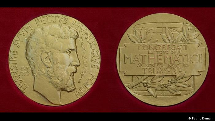 The obverse and reverse sides of a Fields Medal.