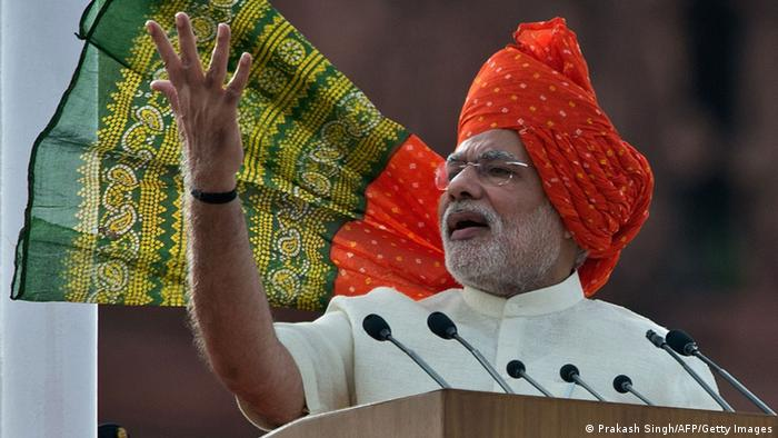 Indian Prime Minister making the 2014 Independence Day Speech