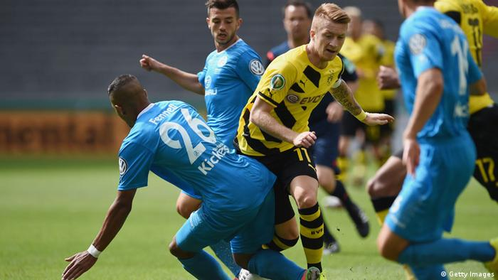 Stuttgarter Kickers and Borussia Dortmund during the German Cup