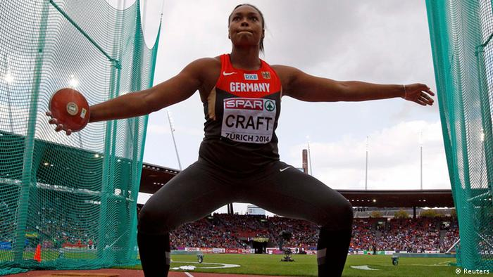 EM Leichtathletik Zürich 2014 Diskuswerferin Shanice Craft im Wurfring (REUTERS/Phil Noble )