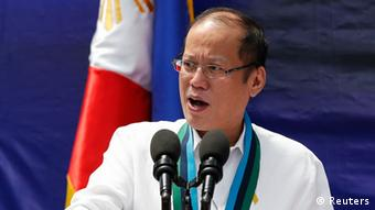Philippine President Benigno Aquino speaks during a weapon distribution ceremony at the armed forces headquarters in Quezon city, Metro Manila August 14, 2014.
