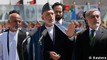 Karsai mit Abdullah und Ghani Jahrestag der Unabhängigkeit 19.08.2014