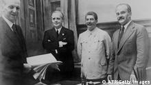 From left: Friedrich Gaus from Germany, Joachim von Ribbentrop, German Foreign Minister, Joseph Stalin, Soviet head of state and his Foreign Minister Vyacheslav Molotov (AFP/Getty Images)