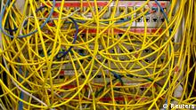 Ethernet cables used for internet connections are pictured in a Berlin office, August 20, 2014. The German cabinet discussed on Wednesday Germany's digital agenda for the future. REUTERS/Fabrizio Bensch (GERMANY - Tags: POLITICS)