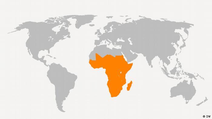Weltkarte Neu Afrika