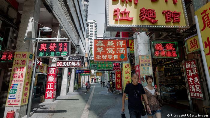Macau street in China