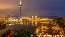 MACAU - APRIL 02: The Macau Tower seen from a vantage point at Penha Chapel is lit up blue for Autism Awareness and Autism Speaks on April 2, 2014 in Macau, Macau. (Photo by Callaghan Walsh/Getty Images)