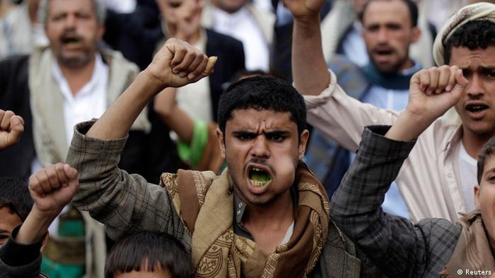 صورة من مظاهرة احتجاجية لمؤيدي حركة الحوثي في صنعاء بتاريخ 19.08.2014