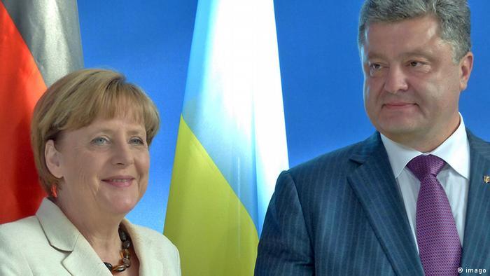Ангела Меркель и Петр Порошенко во время их встречи в Берлине