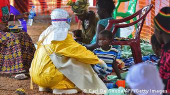 A child being treated for Ebola in Sierra Leone Photo: CARL DE SOUZA/AFP/Getty Images