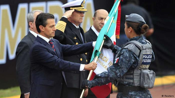 President Enrique Pena Nieto presents the gendarmerie with its new flag