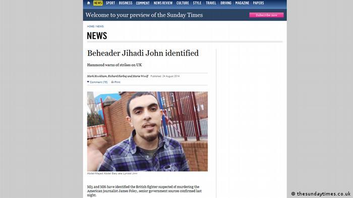 اسکرین شات گزارش «ساندی تایمز» در معرفی رپر ۲۳ ساله به عنوان قاتل احتمالی فولی