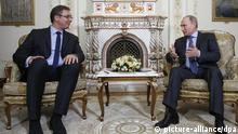 epa04305222 Russian President Vladimir Putin (R) speaks with Serbian Prime Minister Aleksandar Vucic (L) in the Novo-Ogaryovo residence, outside Moscow, Russia, 08 July 2014. Media reports state that under discussion in Aleksandar Vucic's visit will be the Ukrainian crisis and South Stream, a planned gas pipeline to transport Russian natural gas through the Black Sea to Bulgaria and through Serbia. EPA/MAXIM SHIPENKOV / POOL +++(c) dpa - Bildfunk+++
