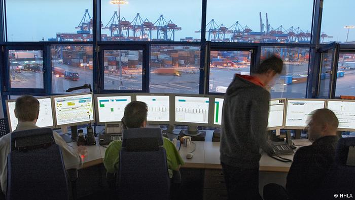 A view of the Hamburg port