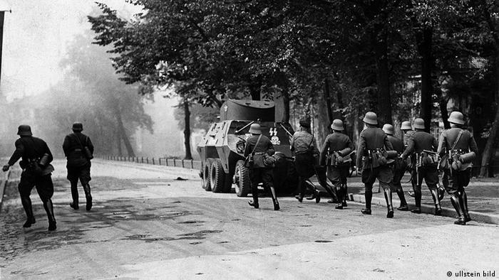 Nazi soldiers march on a street in Gdansk