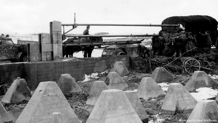 German troops moving through the Siegfried Line in Belgium