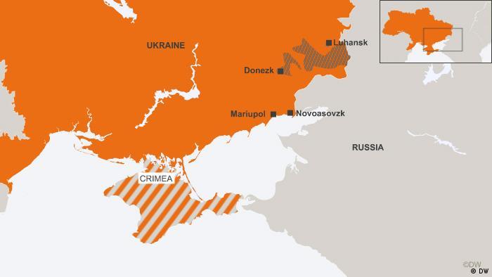 Map of Ukraine, Crimea, Russia