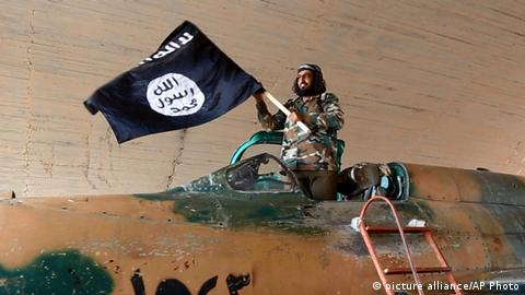 Islamic State terrorist in a jet plane in Syria
