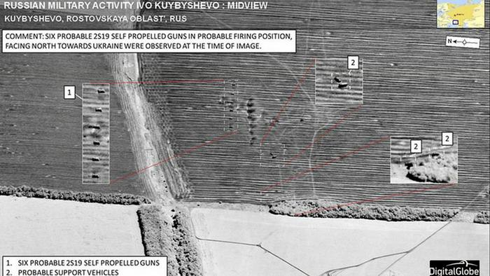 NATO Satelliten-Photos Russische Artillerie an Grenze zu Ukraine 23.07.2014