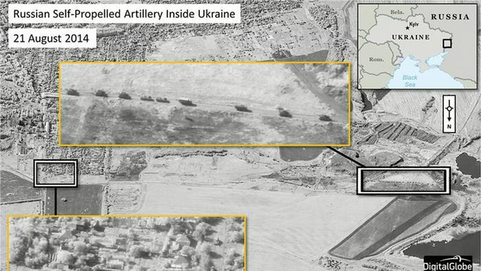 Satellitenbild der NATO soll russische Truppen in der Ukraine zeigen (Quelle: rtr/NATO)