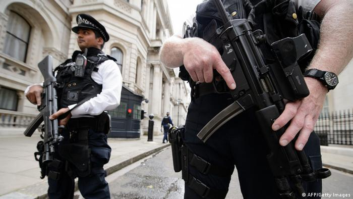 Armed police in London, amid elevated fears of a terror attack
