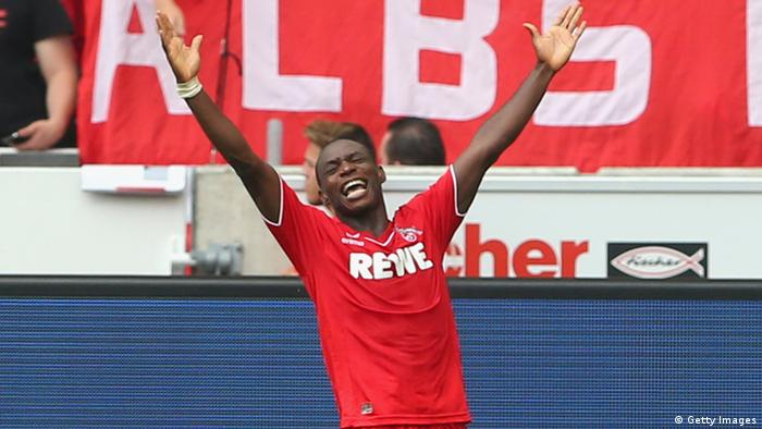 Anthony Ujah of Koeln celebrates scoring the second team goal during the Bundesliga match between VfB Stuttgart and 1. FC Koeln at Mercedes-Benz Arena on August 30, 2014 in Stuttgart, Germany.