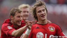 Leverkusen players celebrate