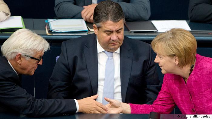 Франк-Вальтер Штайнмайер, Зигмар Габриэль и Ангела Меркель