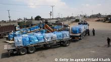 Convoy de UNRWA con alimentos para la Franja de Gaza.