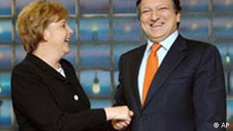 Germany's new Chancellor Angela Merkel, left, is welcomed by EU Commission President Jose Manuel Barosso upon her arrival at EU Commission headquarters in Brussels, Wednesday Nov. 23, 2005. (AP Photo/Geert Vanden Wijngaert)