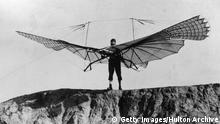 Otto Lilienthal (1848 - 1896), German inventor and aeronautical engineer preparing a launch from a hill in Lichterfelde, Berlin. His first successful flight occurred in 1891. After making more than 2,000 flights, he was killed when his glider crashed in 1896. (Photo by Hulton Archive/Getty Images)
