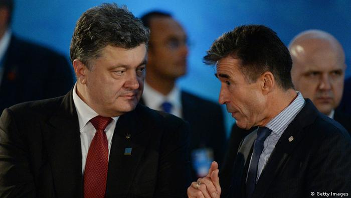 Ukrainischer Präsident Petro Poroschenko und NATO-Generalsekretär Anders Fogh Rasmussen beim NATO-Gipfel in Wales (Foto: Getty Images)