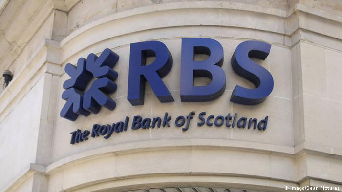 El emblema de la Royal Bank of Scotland (RBS).